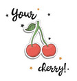cherry sticker fashion patch element vector image vector image