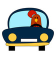 chicken in a car on white background vector image vector image