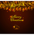 Christmas background with bird and decorations vector image
