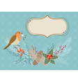 Christmas card with Robin bird vector image vector image