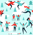 christmas season pattern people at ice skate park vector image vector image