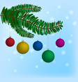 christmas-tree branch with hanging christmas ball vector image