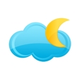 cloud and moon sign vector image vector image