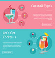 cocktail types lets get cocktails set of posters vector image vector image