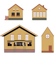 cozy houses isolated icons on white background vector image vector image