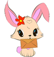 Cute bunny with envelope vector image vector image