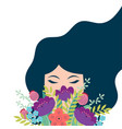 cute card with cute woman holding flowers vector image