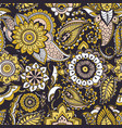 ethnic seamless pattern with yellow buta motifs vector image