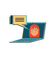 face of woman in laptop computer with speech vector image vector image