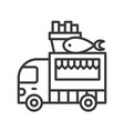 fish and chips truck food truck line style vector image vector image