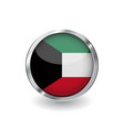 flag of kuwait button with metal frame and shadow vector image vector image