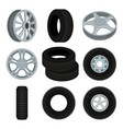 flat set of car disks and tires alloy vector image vector image