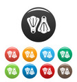 flippers icons set color vector image vector image