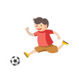 funny little boy plays football isolated cartoon vector image