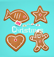 gingerbread christmas symbols on retro blue vector image vector image