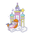 girl and cute unicorn in the castle with cloud vector image