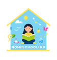 girl reading a book homeschooling science vector image