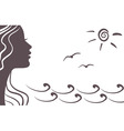 girl silhouette on vacation vector image
