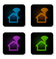 glowing neon smart home with wi-fi icon isolated vector image vector image