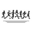 group boys and girls running silhouettes vector image vector image
