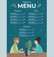 happy couple have a dinner in a restaurant menu vector image