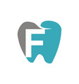 healthy dental care letter f vector image vector image