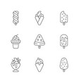 ice cream variations linear icons set vector image