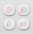 immigration app icons set embassy and consulate vector image vector image