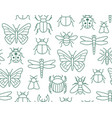 insects seamless pattern with flat line icons vector image vector image