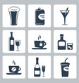 isolated beverages icons set vector image