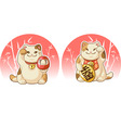 Japanese fortune lucky cat man vector image