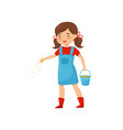 little farm girl holding bucket with grains and vector image