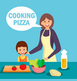 mother with daughter cooking dish vector image