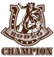 NX cowboy horse jumpingfront HORSEHOE vector image vector image