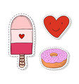 patches elements with sweets girly elements vector image vector image