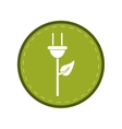 plug cable leaves ecology energy symbol green vector image