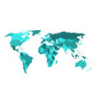 political map of world in shades of turquoise blue vector image