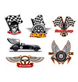 racing sport club motor cars flag icons vector image vector image