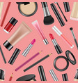 realistic makeup elements pattern or vector image vector image