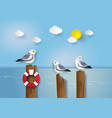 seagull standing on a wooden post vector image vector image
