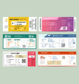 set isolated bus and train railway tickets vector image