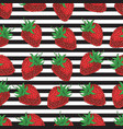 striped seamless pattern strawberries vector image vector image