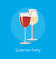 summer party poster glasses elite red white wine vector image vector image
