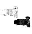 top view white and black camera vintage icon vector image vector image