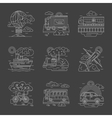 Transport and vehicles line detailed icons vector image