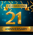 twenty one years anniversary celebration design vector image vector image