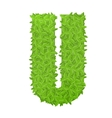 Uppecase letter U consisting of green leaves vector image vector image