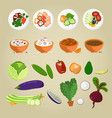 vegetarian food and dishes from vegetables concept vector image