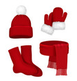 winter clothes scarf mittens stocking snow hat vector image