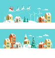 Winter town Christmas card vector image vector image